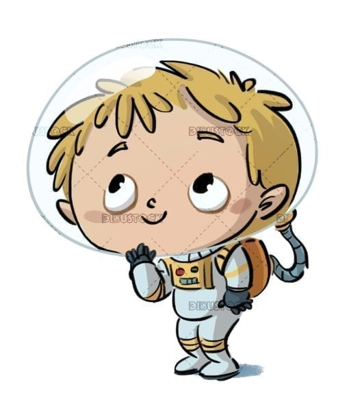 boy with spacesuit on isolated background