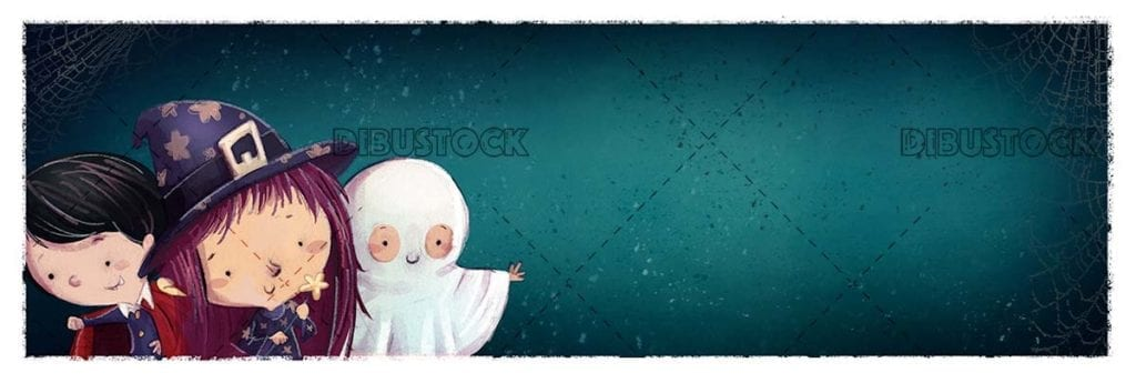children with witch vampire and ghost costume with texture background