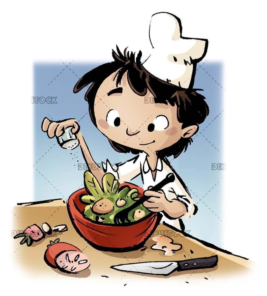 cook boy dressing a salad