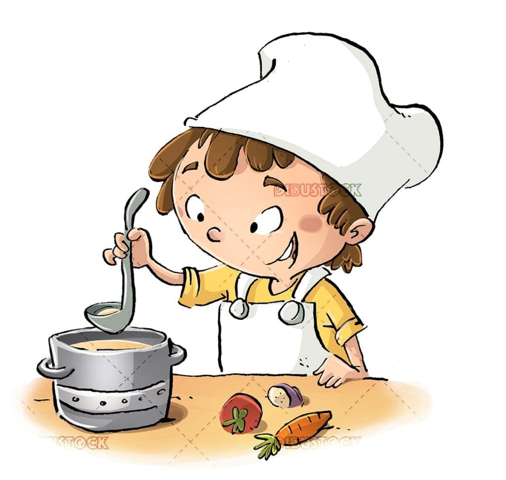 cook boy preparing a soup with his pot