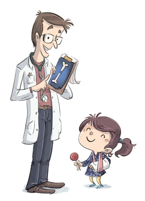 doctor and small girl with broken arm