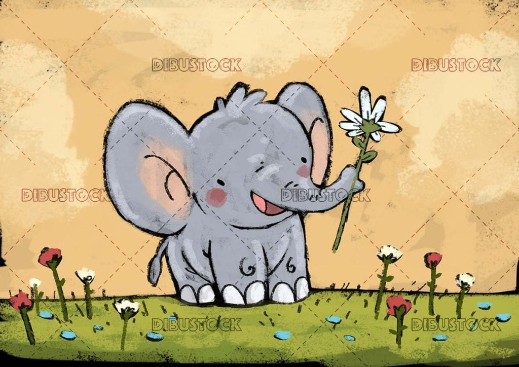 elephant with flower in the trunk