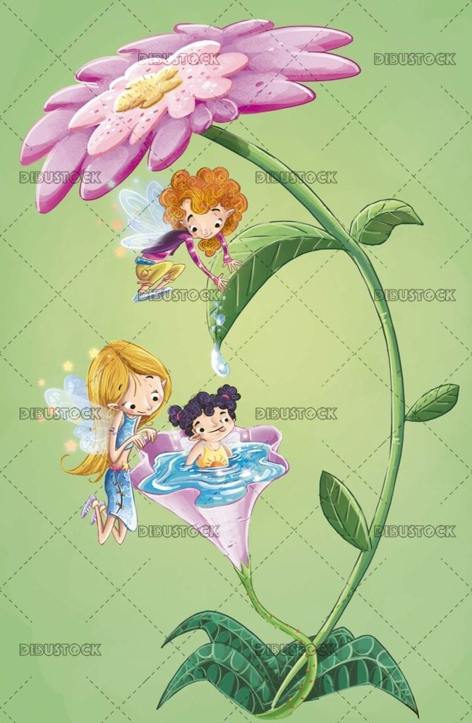 fairies playing in a flower