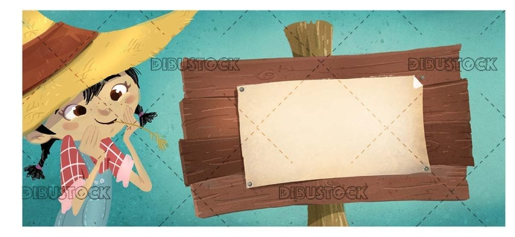 farmer girl with wooden sign