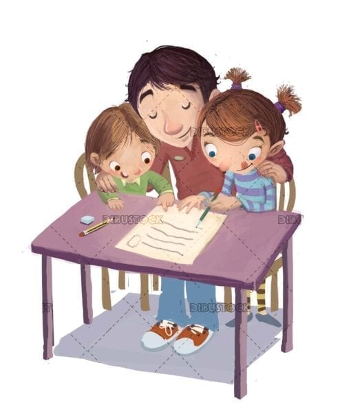 father and children writing a letter on the table