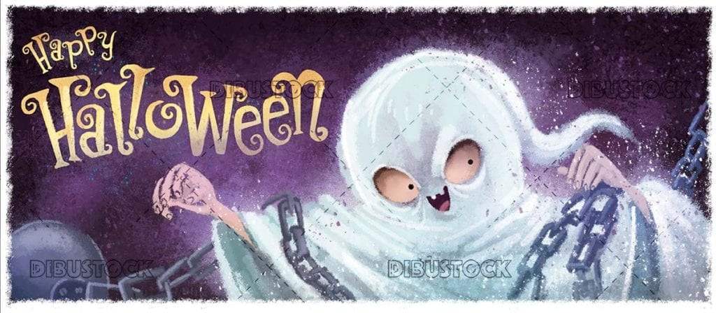 funny classic ghost with halloween background