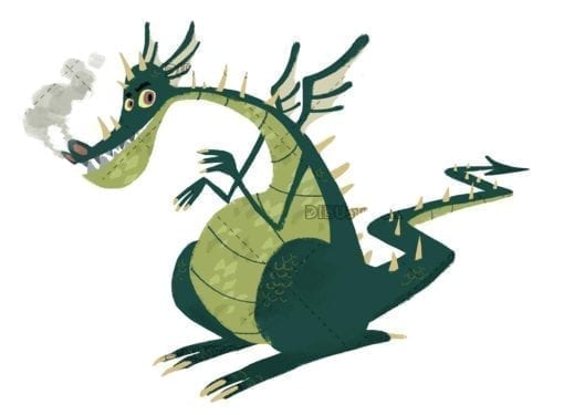 funny green dragon on white background