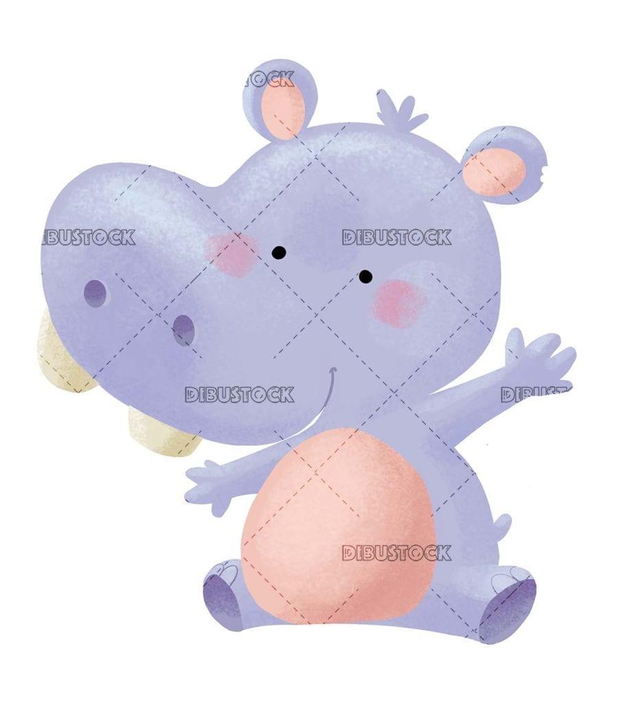 funny hippo sitting