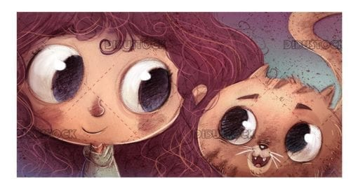 girl and cat faces with texture background