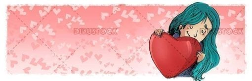 girl hugging a heart with hearts background