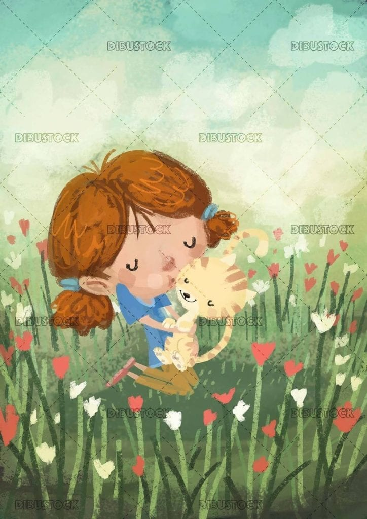 girl hugging her cat in a meadow among many flowers