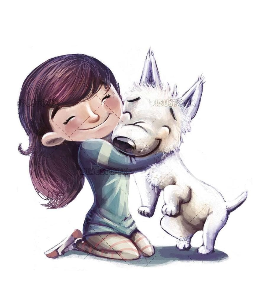 girl hugging her white dog with isolated background