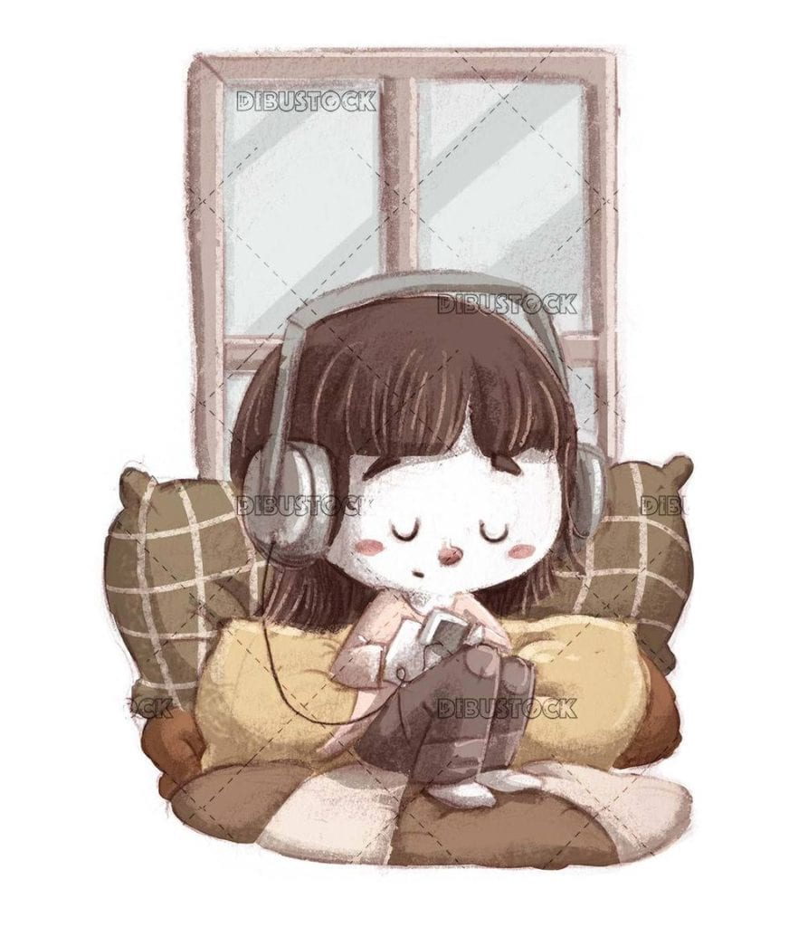 girl sitting between cushions listening to music with a player