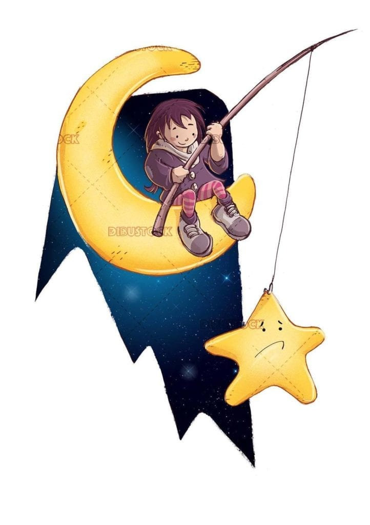 girl sitting on the moon catching a star
