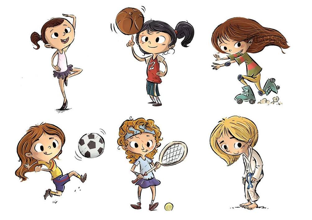 girls in different poses doing sports