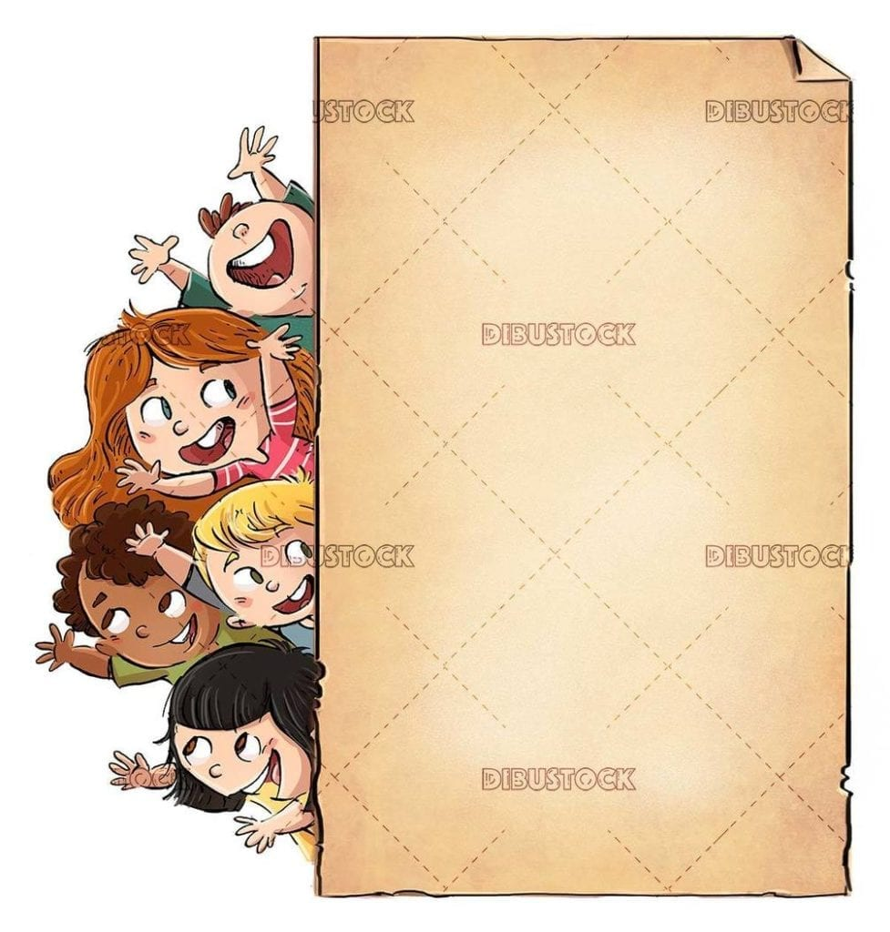 group of happy children jumping behind a poster