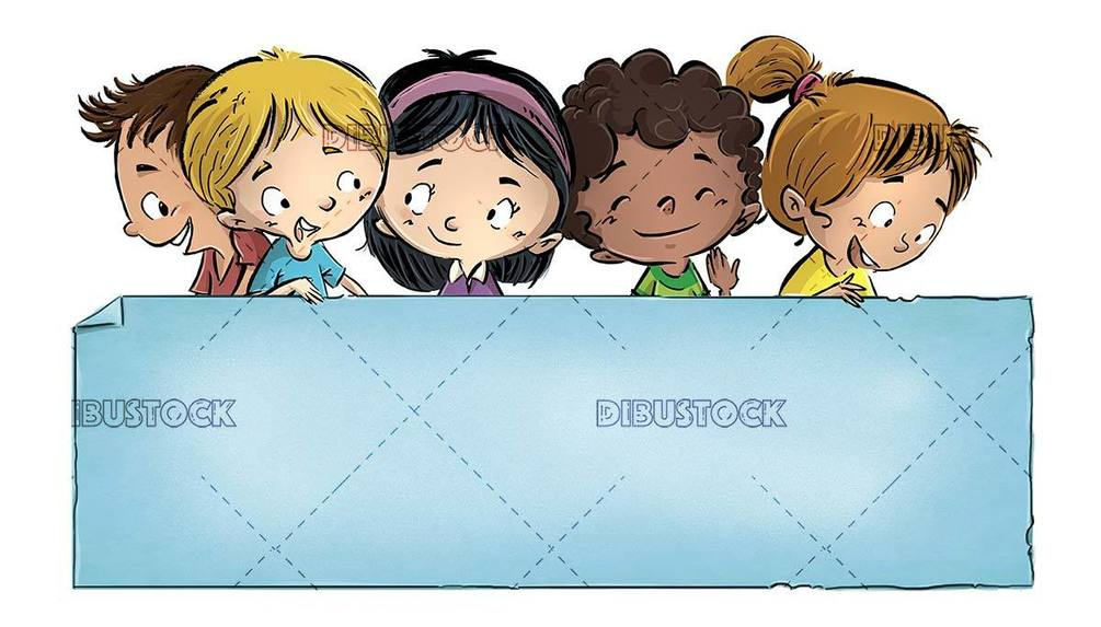 group of happy children with blue board