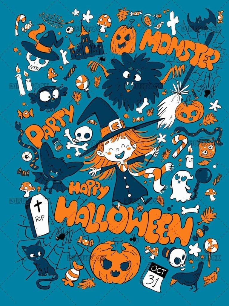 halloween concepts pattern in color
