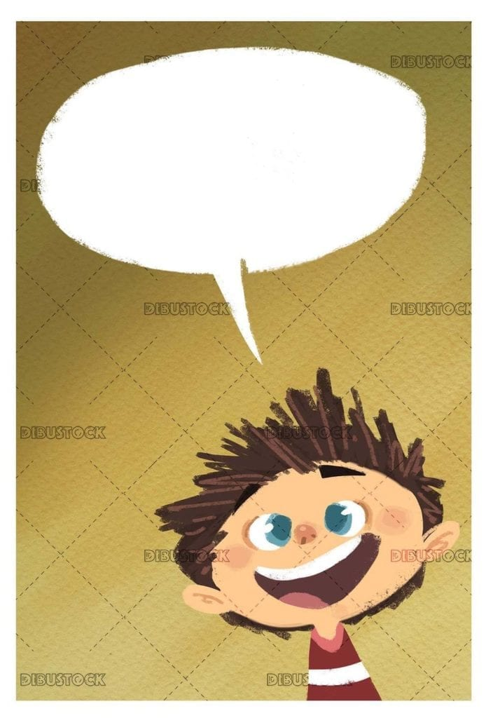 happy boy face talking on texture background