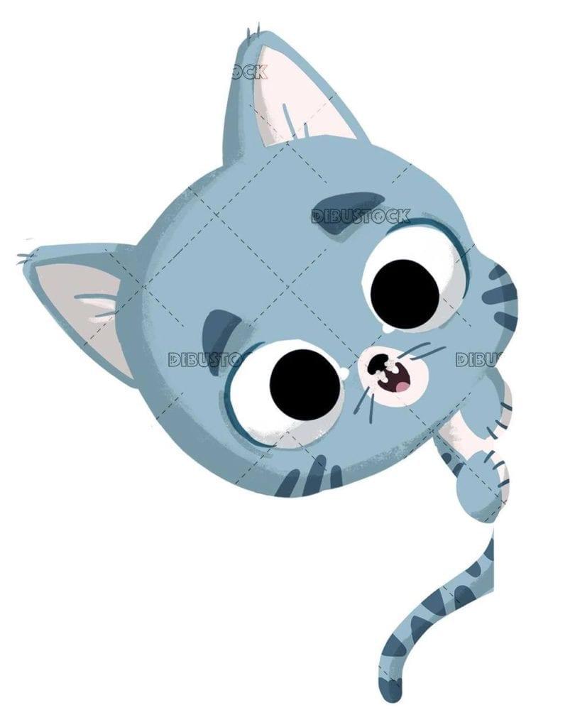 happy gray cat face