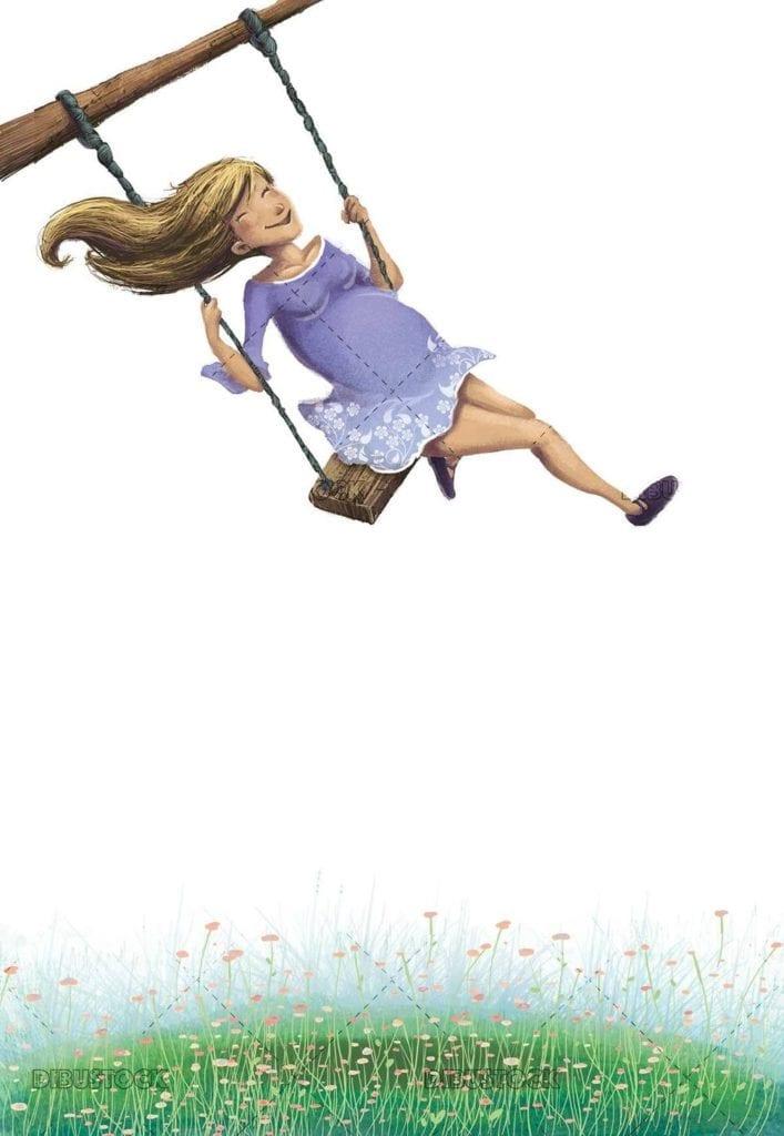 happy pregnant woman climb on swing
