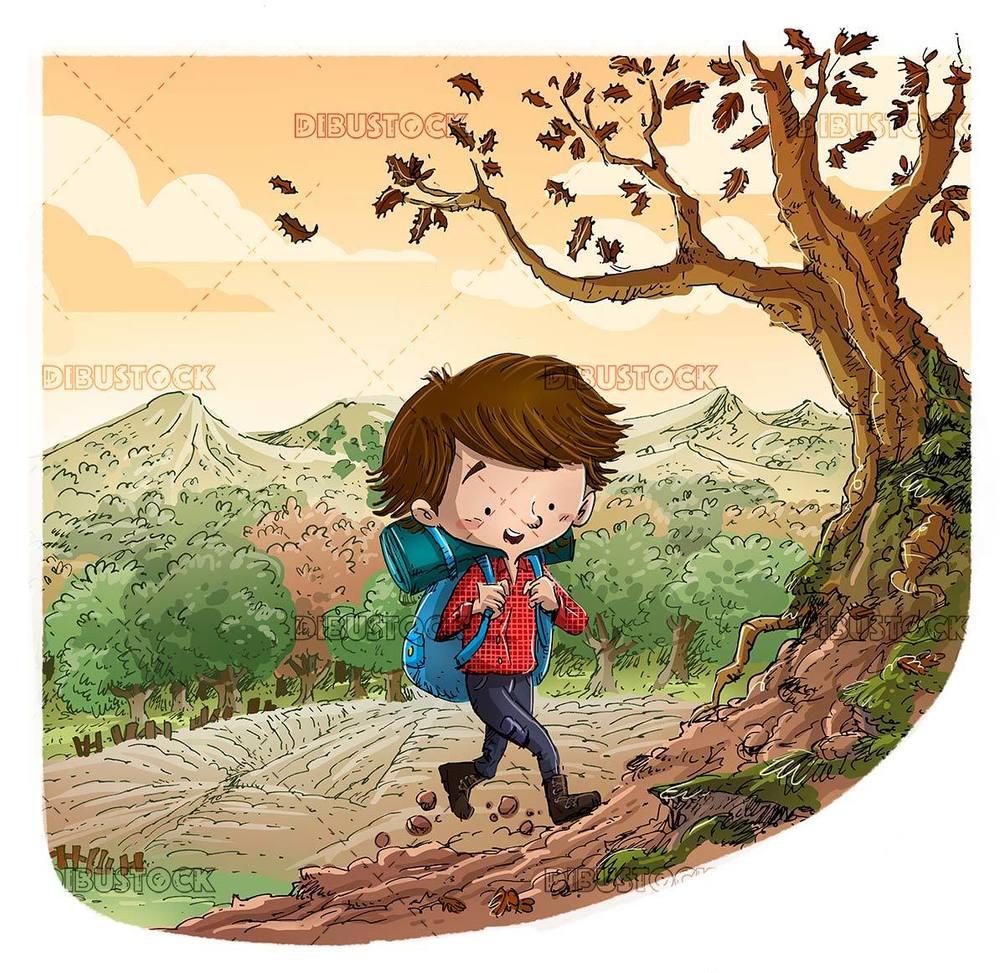 hiker boy doing mountain hiking