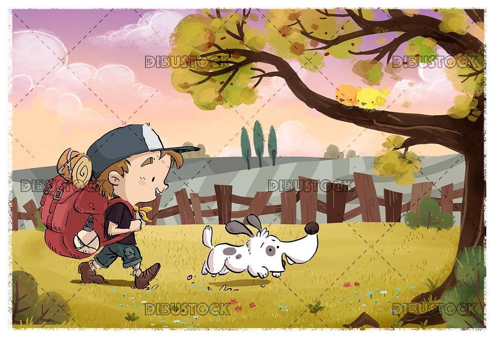 hiker boy walking with dog through the field