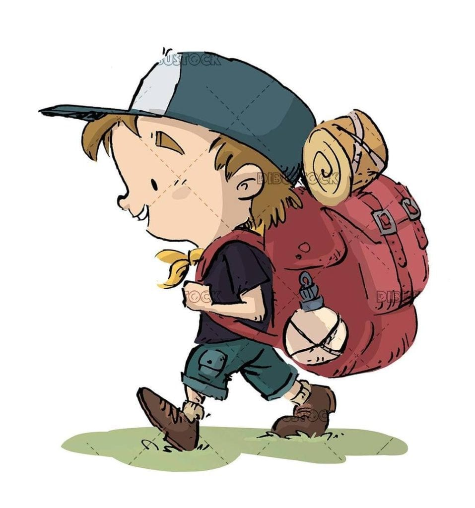 hiker with big backpack walking isolated