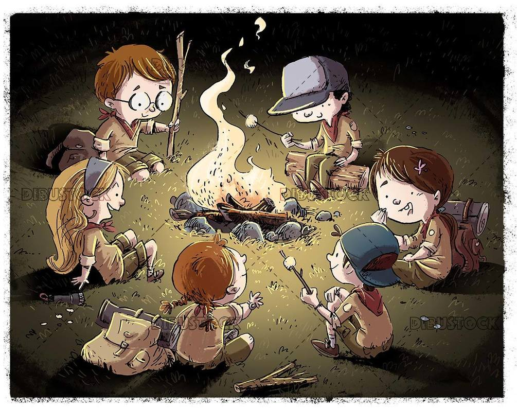 hikers around a campfire