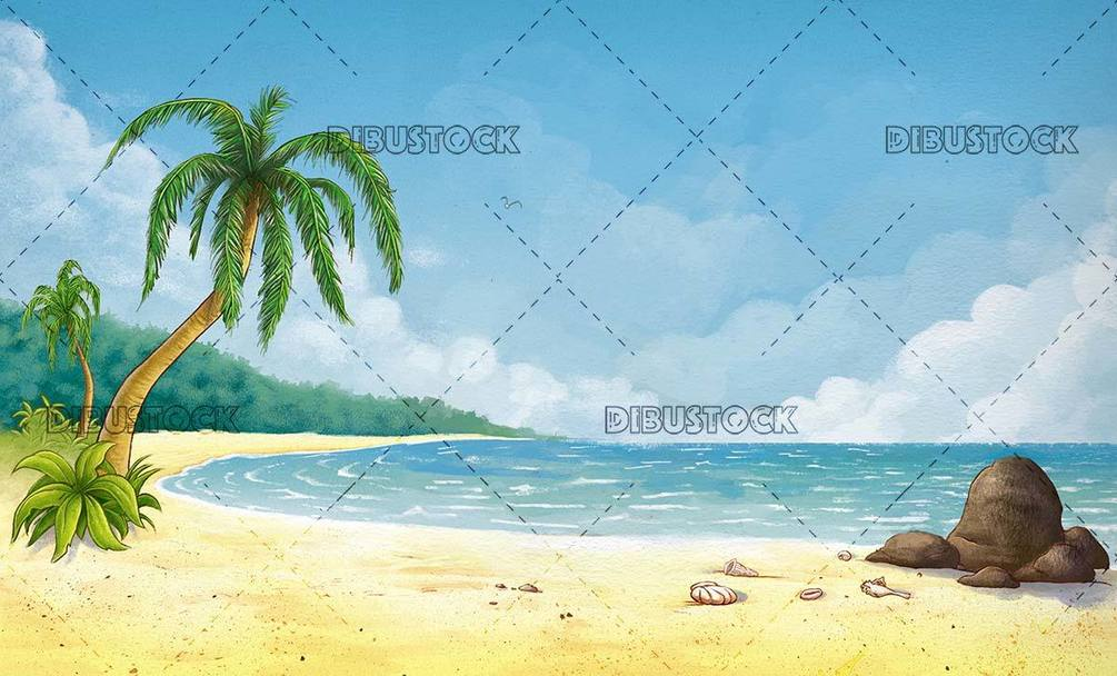horizontal tropical beach landscape