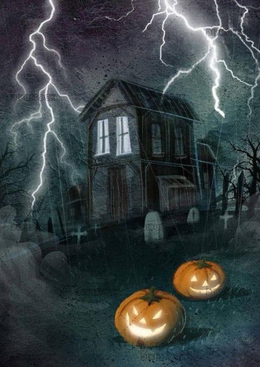 horror house with halloween pumpkins