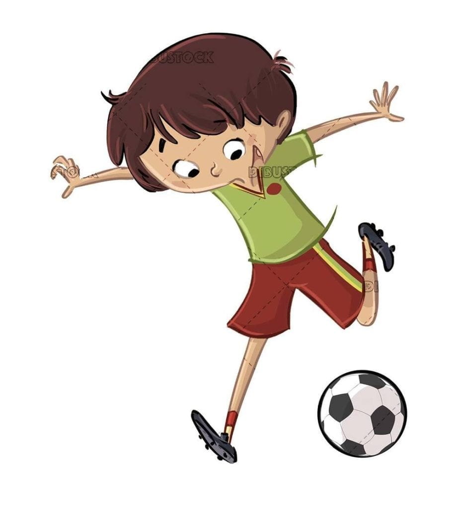 kid about to kick a soccer ball