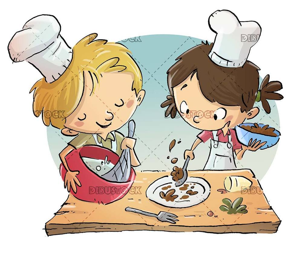 kids cooking like two professional chefs