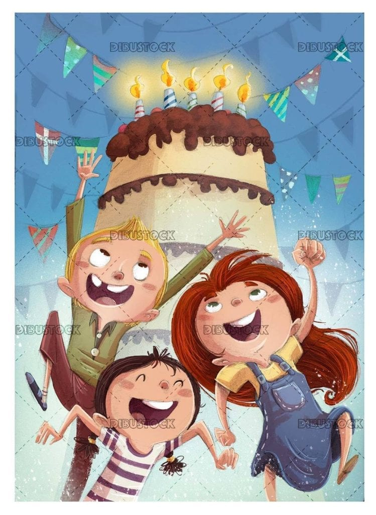 kids jumping with background birthday cake