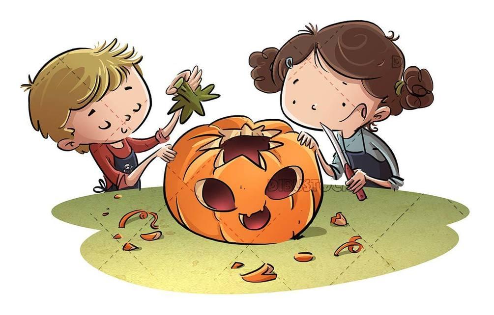 kids preparing a halloween pumpkin