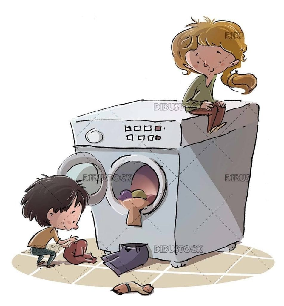 kids putting clothes in the washing machine