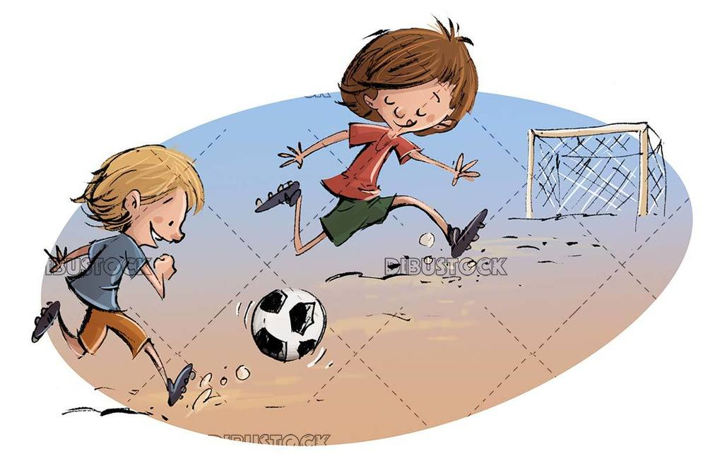 kids running and playing soccer with goal in the background