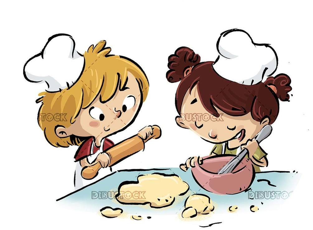 Kneading boy and girl beating chefs dresses