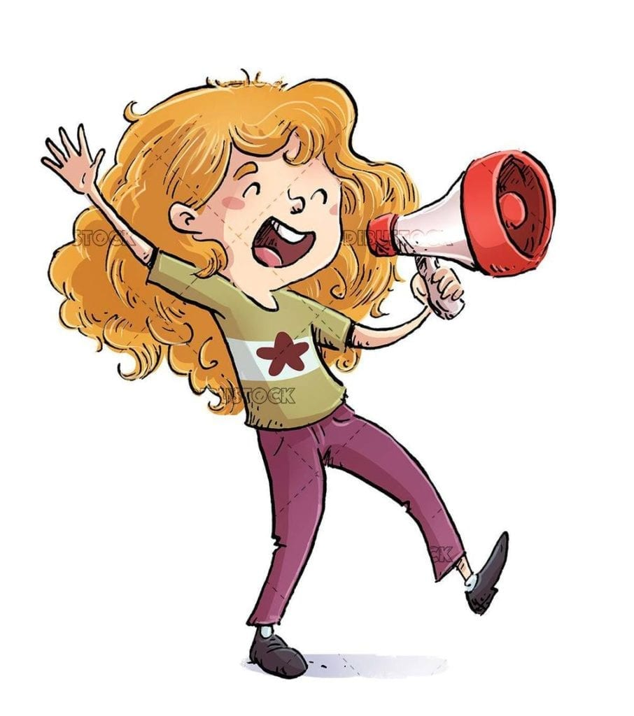 Little girl shouting and jumping with megaphone