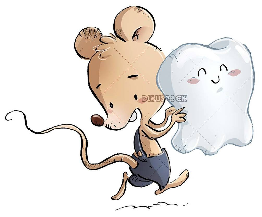 Perez mouse running with a tooth in hands