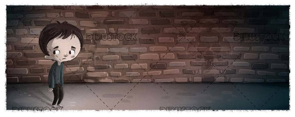 Sad and depressed boy on dark background and with bricks