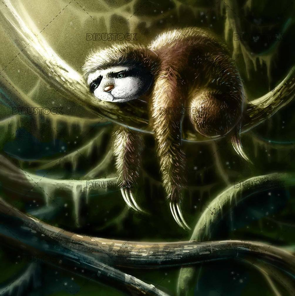 Sloth in the jungle branches