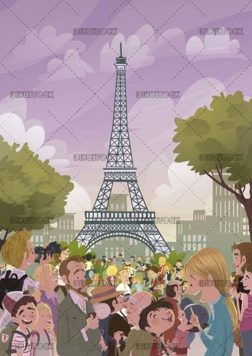 The Eiffel Tower visited by tourists