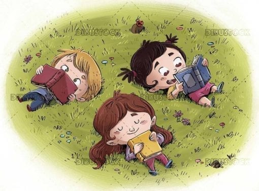 Three children reading books lying in a meadow