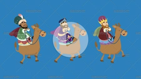 Three magical kings with coloured backgrounds