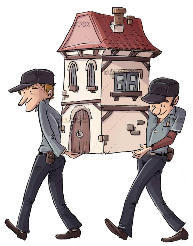 Workers carrying a house in their arms