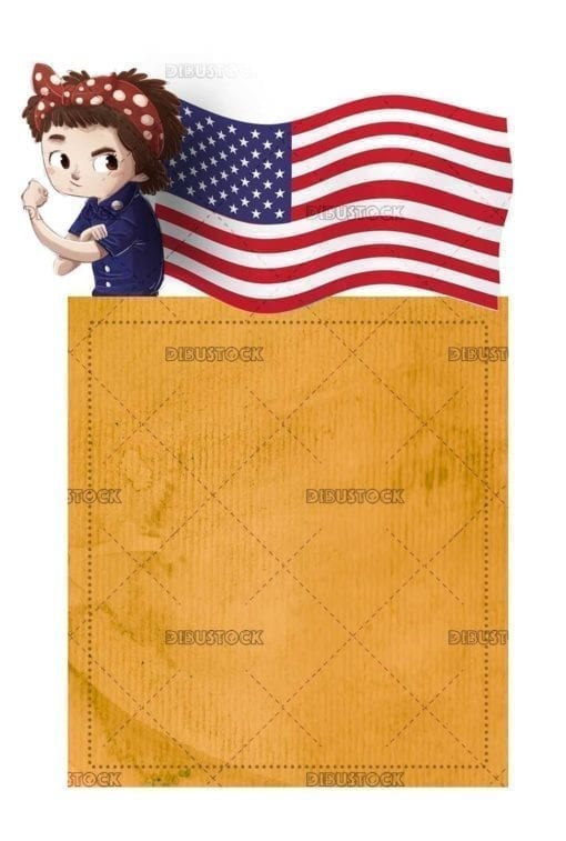 Working girl with USA flag and poster