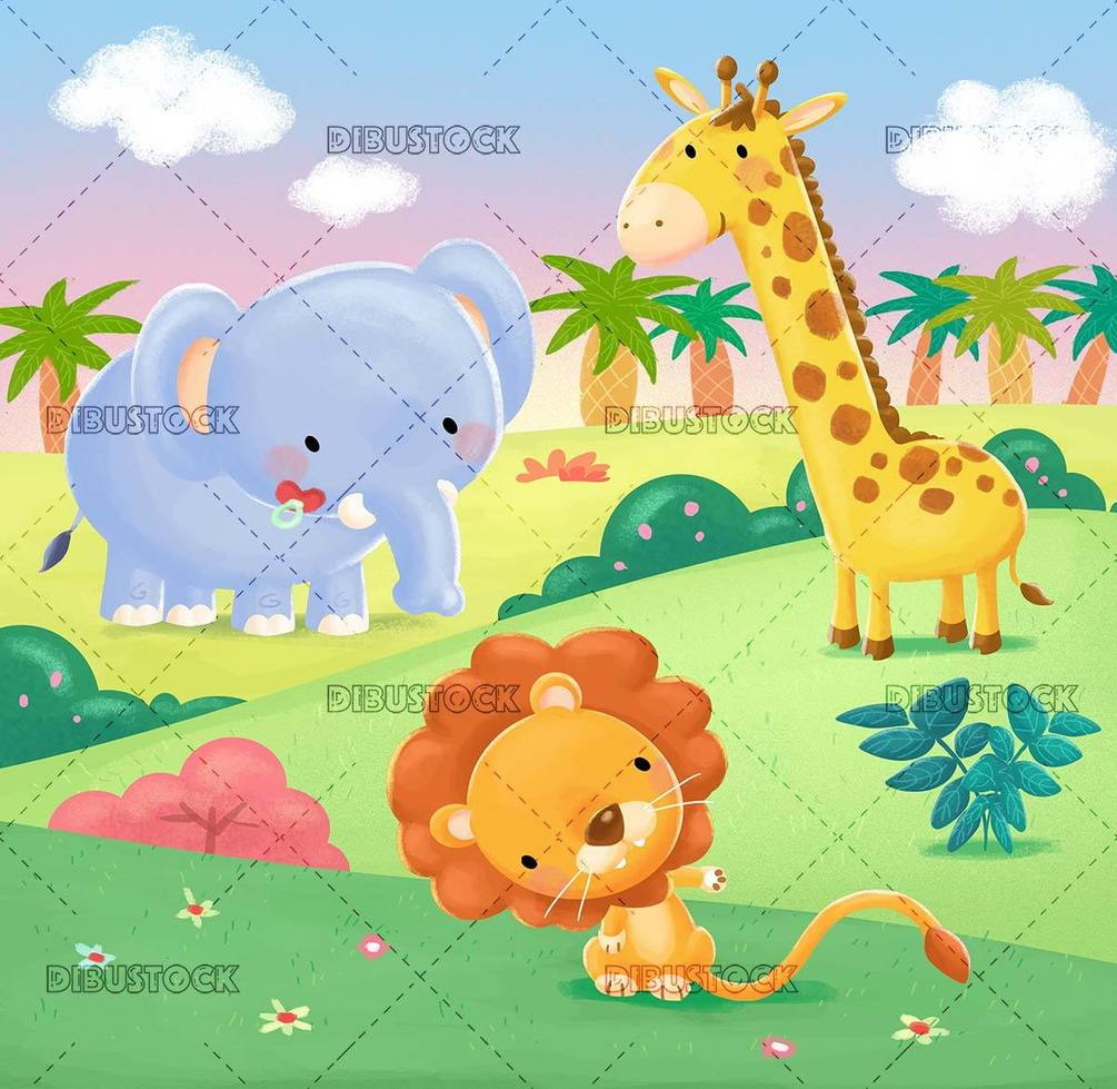 lion 2C giraffe and elephant in the jungle