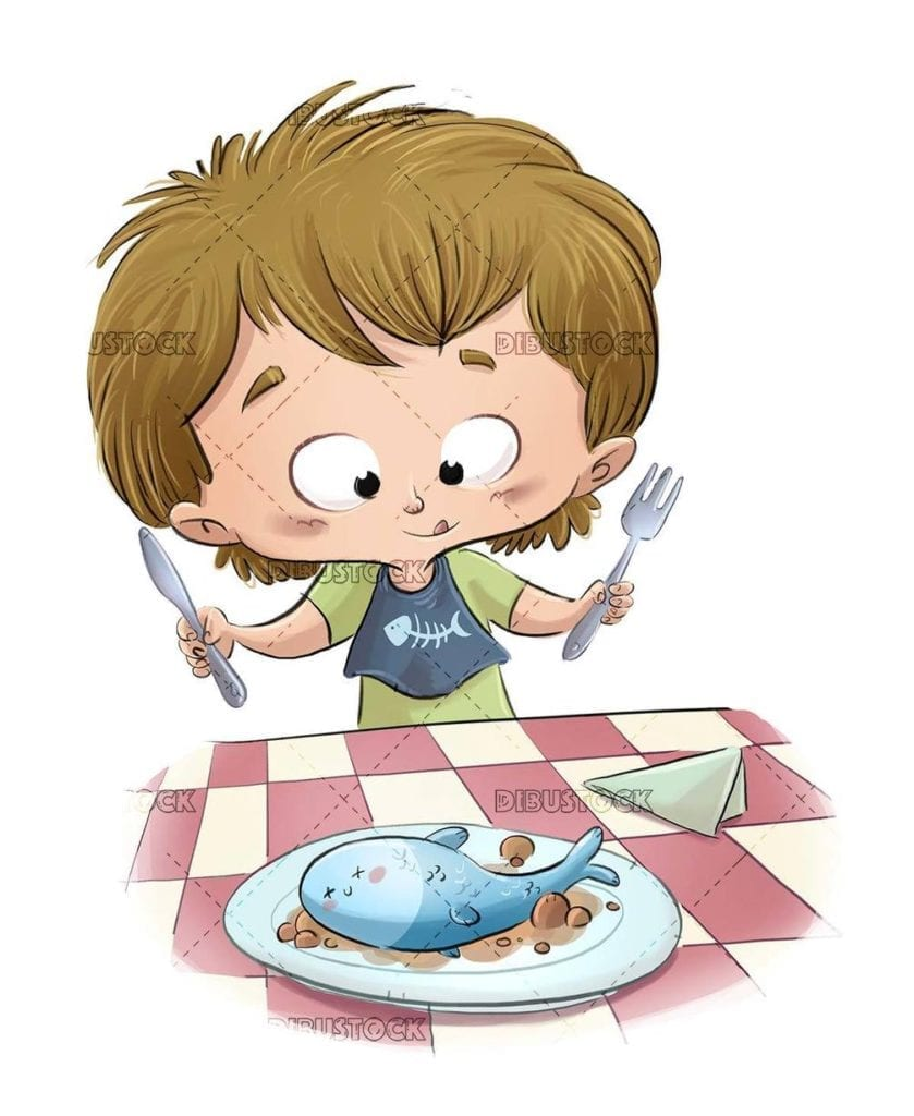 little boy about to eat a plate with fish
