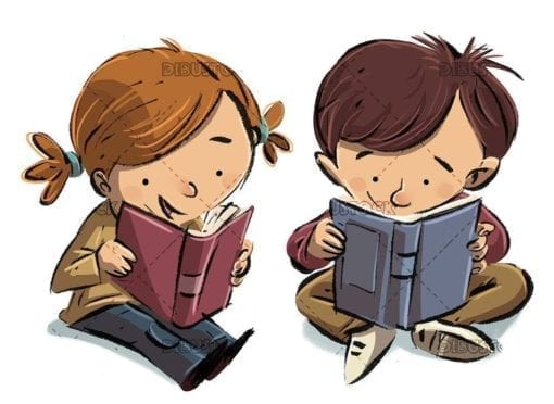 little boy and girl reading a book each